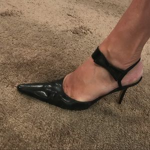 Ellen Tracy Black Leather Heels